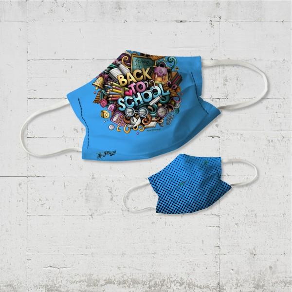 Back to School Kinder Wende-Maske azur organic fairwear vegan