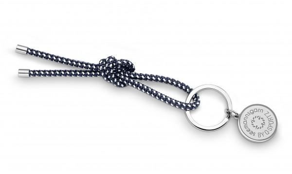 """Schlüsselkette """"Hiddensee"""" 4mm Segeltau navy-blau-weiss"""