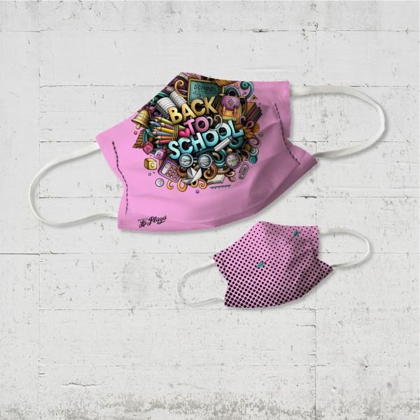 Back to School Kinder Wende-Maske candy pink organic fairwear vegan