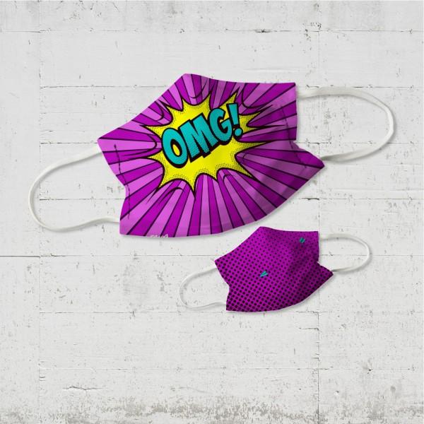 OMG! Kinder Wende-Maske pink punch mit Sprechblase | organic fairwear vegan