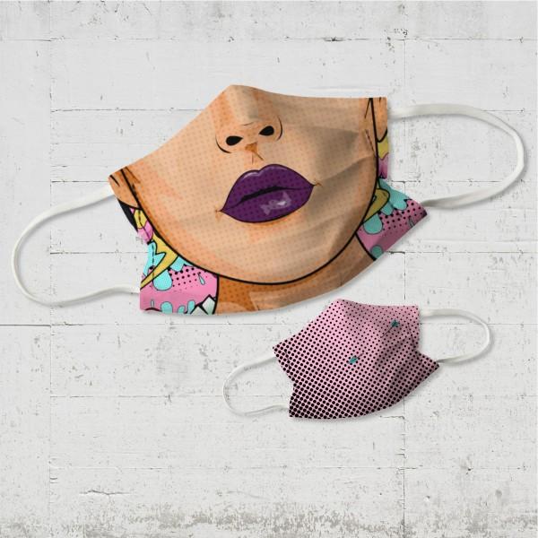 Purple Lips - Wende-Behelfsmaske für Nase und Mund