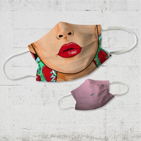 Red Lips - Wende-Behelfsmaske für Nase und Mund