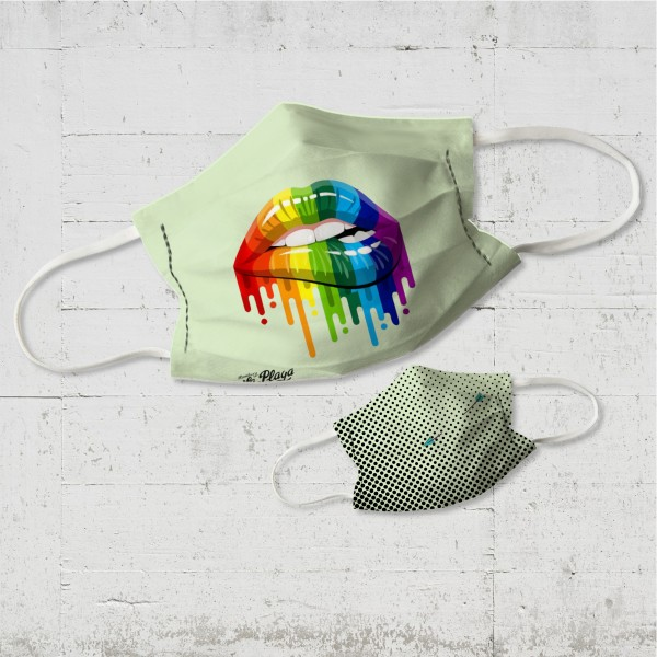 Rainbow Lips green - Wende-Behelfsmaske Community Maske für Nase und Mund organic fairwear