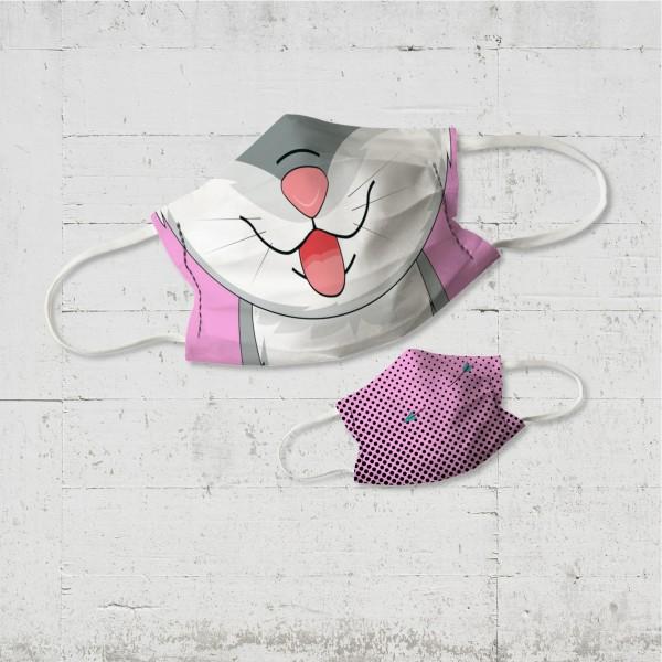 Kätzchen pink - Wende-Behelfsmaske Community Maske für Kinder - organic fairwear