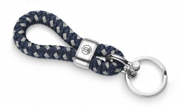 """Schlüsselkette """"Hiddensee"""" 8mm Segeltau navy-blau-grau"""