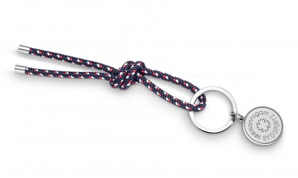 """Schlüsselkette """"Hiddensee"""" 4mm Segeltau navy-blau-rot-weiss"""